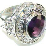 Paradise Bloom!! Purple Amethyst Sterling Silver ring s. 13