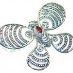 Precious Design Of Red Garnet Sterling Silver Pendant