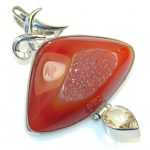 Brown Island! Agate Druzy Sterling Silver Pendant