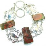 Natural Beauty!! Red Ammolite Sterling Silver Bracelet