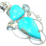Sleeping Beauty!! Blue Turquoise Sterling Silver Pendant
