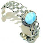 Royal Design Light Blue Larimar Sterling Silver Bracelet / Cuff