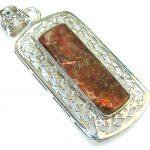 Secret Red Ammolite Sterling Silver Pendant