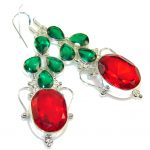 Pale Beauty!! Red & Green Quartz Sterling Silver earrings
