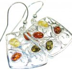 Fabulous Multicolor Polish Amber Sterling Silver earrings