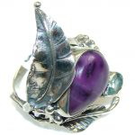 Beautiful!! Purple Amethyst Sterling Silver Ring s. 9 1/4