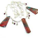 Precious Design!! Red Sonora Jasper Sterling Silver Necklace