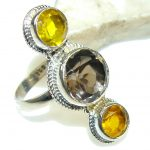 Stylish Yellow & Brown Quartz Sterling Silver Ring s. 9