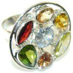 Spark Of Life Multicolor Quartz Sterling Silver Ring s. 11