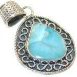 Stylish!! Blue Larimar Sterling Silver Pendant