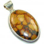 New Design!! Brown Jasper Sterling Silver Pendant
