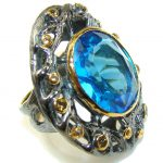Italy Made,Rhodium Plated, 18ct Gold Plated London Blue Topaz Sterling Silver Ring s. 8