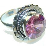 Delicate Pink Quartz Sterling Silver Ring s. 7