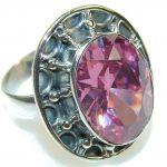 Perfect Pink Topaz Quartz Sterling Silver ring; size 7