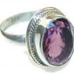Fantastic Purple Amethyst Sterling Silver ring s. 6