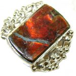 Precious Red Ammolite Sterling Silver ring s. 10
