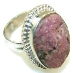 New Fabulous Design Of Druzy Rhodonite Sterling Silver Ring s. 7 1/2