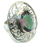 Big!Exotic!! Rainbow Magic Topaz Sterling Silver ring; s. 12
