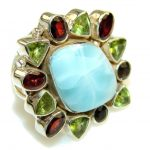 New Fabulous Blue Larimar Sterling Silver Ring s. 7 1/4