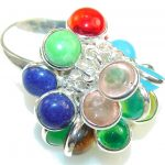 New Fabulous Multistone Sterling Silver Ring s. 6 1/4
