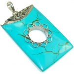Big! Stylish Blue Turquoise Sterling Silver Pendant