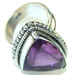 Excellent Purple Amethyst Sterling Silver ring; size 8 1/2