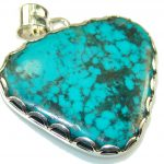 Excellent Blue Turquoise Sterling Silver Pendant