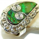 Beautiful Green Ammolite Sterling Silver ring s. 9