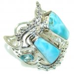 Fabulous Design! Blue Larimar Sterling Silver Ring s. 11