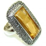 New!! Classy Yellow Quartz Sterling Silver Ring s. 10