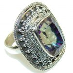 Exotic! Rainbow Magic Topaz Sterling Silver ring; s. 8 3/4