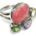 Stylish Rhodochrosite Sterling Silver ring s. 8 – adjustable
