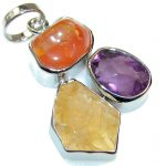 Natural Beauty! Multistone Sterling Silver Pendant