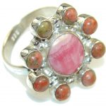 Natural Pink Rhodochrosite Sterling Silver ring s. 6 1/4