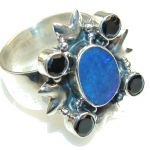Secret Rainbow Fire Opal Sterling Silver Ring s. 9