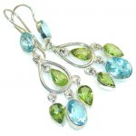 Jumbo! Swiss Blue Topaz Sterling Silver earrings