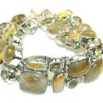 Himalayan Golden Rutilated Quartz Sterling Silver Bracelet
