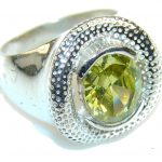 Great Green Topaz Sterling Silver Ring s. 7 3/4