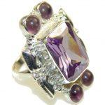 Big! Amazing Purple Quartz Sterling Silver ring; s. 9