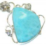 Classic Design! Blue Larimar Sterling Silver Pendant