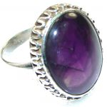 Natural Purple Amethyst Sterling Silver Ring s. 10