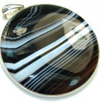 Giant!! Excellent Botswana Agate Sterling Silver Pendant