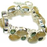 Fabulous Golden Rutilated Quartz Sterling Silver Bracelet