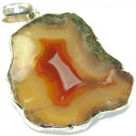 New Trendy!! Agate Druzy Sterling Silver Pendant