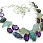 New Outstanding Design!!! Fire Labradorite Sterling Silver necklace