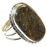 Green Island!! Ammolite Sterling Silver ring s. 11