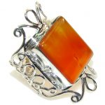 New Design! Brown Amber Sterling Silver Ring s. 11