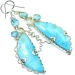Love Attraction!! Light Blue Larimar Sterling Silver earrings