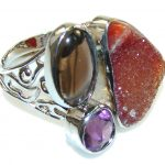 Classy Brown Agate Druzy Sterling Silver Ring s.7 – Adjustable