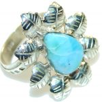 Fabulous Light Blue Larimar Sterling Silver Ring s. 11